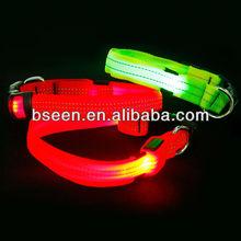 2014 nylon webbing led glowing dog collars
