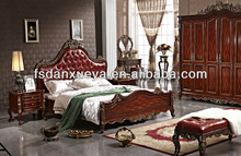 European style Leather bed ,solid wood bedroom furniture