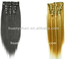 silky straight full head set 220g remy hair ,clip in remy har extensions,clip on weaving hair