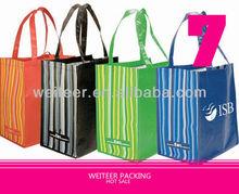 Duo-Tone Stripe Shopping Tote Bag