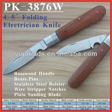 "(PK-3876W) 4.5"" Rosewood Handle Folding Utility Pocket Electrician Knife"