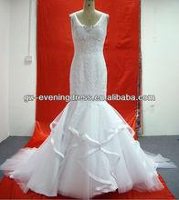W 205242 Custom Made Crystals Bead Organza Wedding Dress