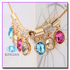 unique jewelry gold plated colorful crystal necklace