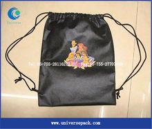 Carton satin drawstring backpack bag for children