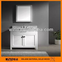 Oak wood white corner bathroom cabinet