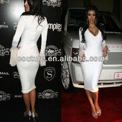 Free Shipping Celebrity Dresses Kim Kardashian Bandage Bodycon Red Carpet Dresses V-Neck Long sleeve Custome Wholesale XT-222