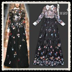 Romanic printing stand collar long sleeve chiffon silk long dresses