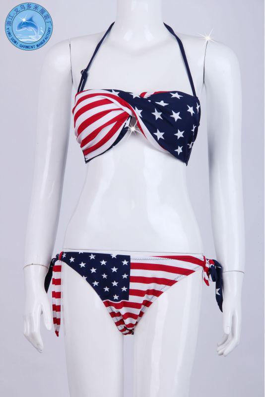 Sexy girl modesto bandagem monokini swimwear/bandeira dos eua biquíni/biquíni bandeira