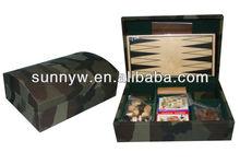 6 in 1 PU backgammon chess game set