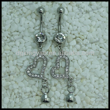gem dangle diamond heart belly button ring navel ring body piercing jewelry
