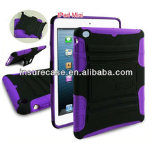 Purple/black Silicon Rubber case bag for Ipad,Defender Case for Ipad mini