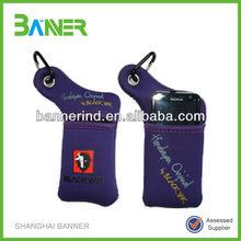 Silk print Neoprene cell phone sleeve with string
