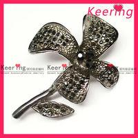 Gun color metal make fabric flower brooch WBR-778
