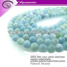 2013 Top Sale 4mm AAA Grade Round Aquamarine blue gem stone