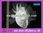 Netting feather flower decorated bridal hair embellished cap