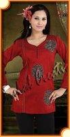 Fabulous Red Color raw silk designer kurtis for women.