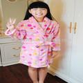 de color rosa impresa albornoz niños baratos batas para los niños