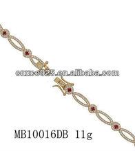 2015 popular clear fashion beautiful girls 14/18K gold plating bracelets