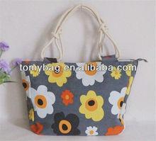 2014 fashion trend flower canvas bag for girls