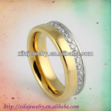 Eternity stainless steel silver and gold engagement rings