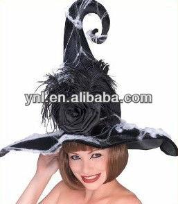 Moda de lujo del sombrero de la bruja de plumas para accesorios de Halloween / decoración