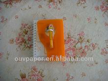 SHENZHEN OUV Polypropylene cover book Wiro-O bindling notebook mini book with Ballpoint pen