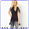 2013 high fashion design women summer balck Fringed Tunic Top clothes shkz 130