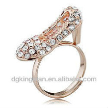 Stylish Real Gold Plated High-heeled Shoe Rings With Shining Diamonds