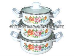 6pcs porcelain enamel cookware with bakelite handle