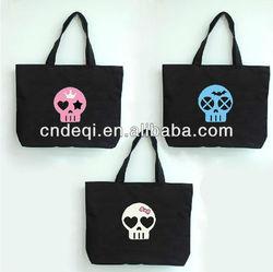 promotional stylish plain casual canvas bags,printed skull head pattern handbags fashion 2014