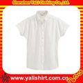 personalizado de moda cómoda liso de color sólido de manga corta de algodón modelos blusas de gasa