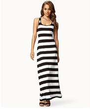 Elegant 100% cotton White Maxi Dress/Ladies Casual Black and white Stripe dress floor length/OEM Clothes Brand made in China