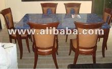 Dining table set with Lapiz lazuli decoration