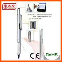 Hot sale 6 in 1 stylus tool pen ( stylus + ballpen + reler + leveler + phillip and slotted screw driver )