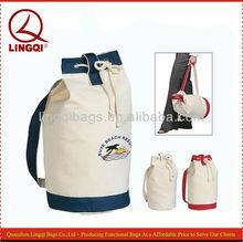 White cotton canvas nautical drawstring backpack wholesale