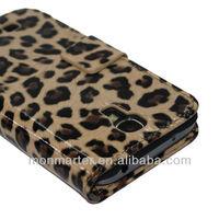 leopard PU wallet card slot case for s4