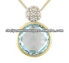 Beautiful Sky Blue Topaz and Diamond Pendant Jewelry