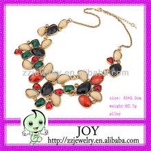 Hotsale Retro Exotic Gemstones Necklace,Delicate Flower Shape Necklace,Rich Wedding Necklace