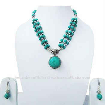 New Fashion Necklace Turquoise Blue Beaded Jewelry Set India