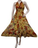 Light Brown Chiffon Blend Evening Dress Floral Boho Medium Women Over Dress