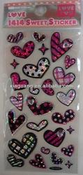 Lovely Heart shape epoxy crystal dots sticker