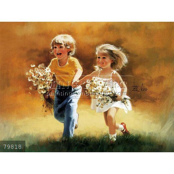 El yapımı güzel çocuklar yağlıboya tarafından donald zolan