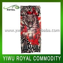 รูปแบบเสือถูกแขนแขนรอยสักไนลอนสำหรับผู้หญิง