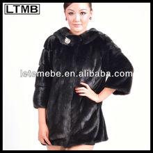 2013 ltmb vendita calda ed elegante medio lungo tre quarti manica colletto tondo cappotti di pelliccia di visone con un grande pulsante due tasche laterali