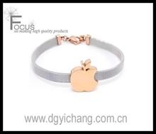stainless steel rose gold apple charm bracelet