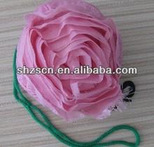 fashion colorful foldable rose nylon shopping bag