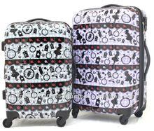Original print design suitcase expandable hard zipper case