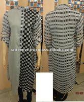 Latest Round Collar Neck Long Black check Design Womens Kurtis style 2013