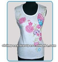 Sleeveless Printed Ladies T shirts