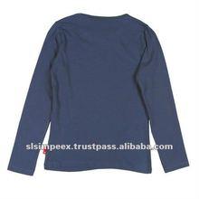Round Neck Full Long Sleeve Girls T Shirts